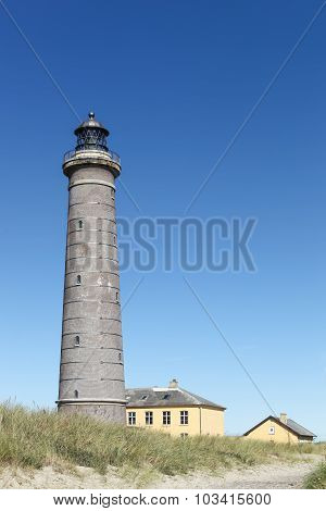 The grey lighthouse in Skagen, Denmark