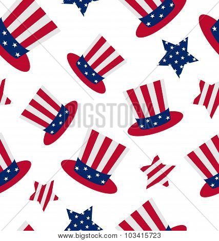 Seamless pattern with Uncle Sam's top hat and stars for american