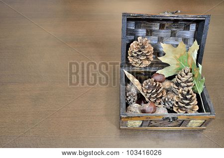 Chest With Leaves, Pinecones And Chestnuts