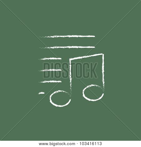Musical note and lines hand drawn in chalk on a blackboard vector white icon isolated on a green background.