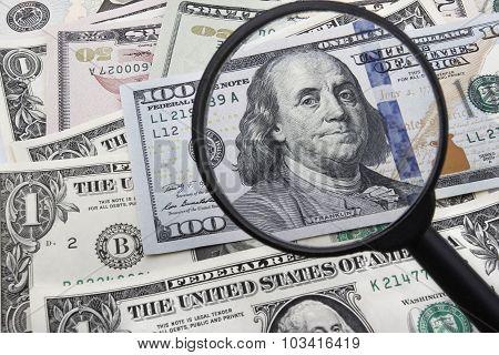 A Close Look At a 100 US Dollar Banknote.