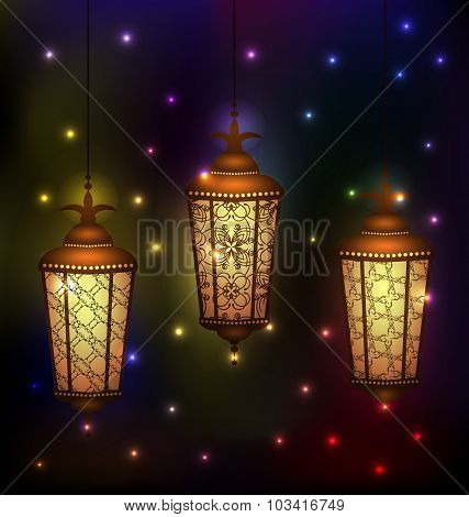 Set Arabic lamps for holy month of muslim community Ramadan Kare