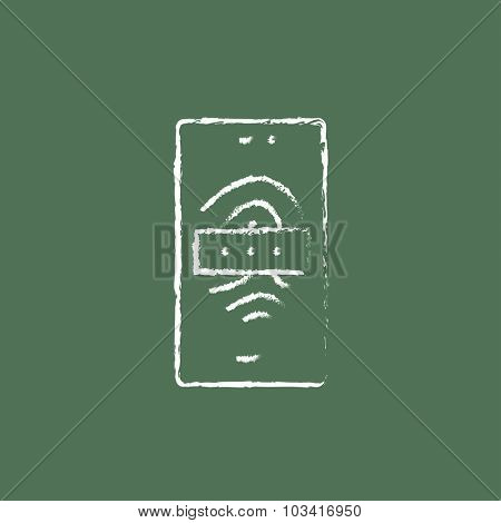 Phone fingerprint hand drawn in chalk on a blackboard vector white icon isolated on a green background.
