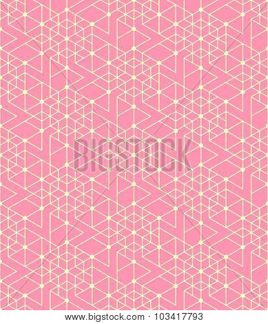 Geometric Seamless Pattern Background With Line, Hexagon, Triangle And Circle.