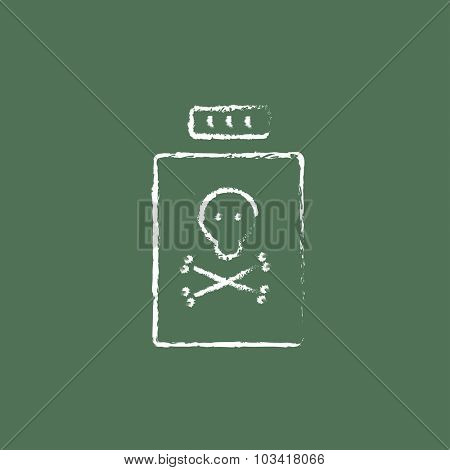 Bottle of poison hand drawn in chalk on a blackboard vector white icon isolated on a green background.