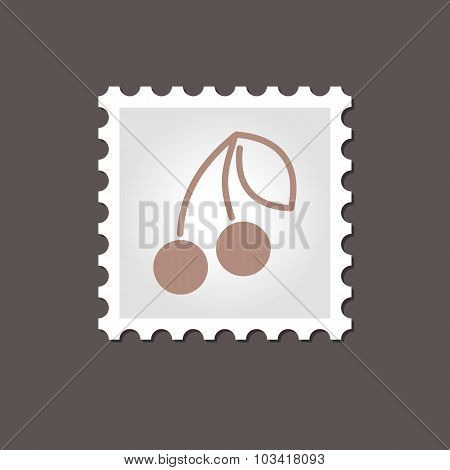 Cherry stamp. Outline vector illustration
