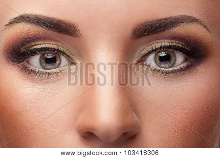 Close Up Eyes With Make Up