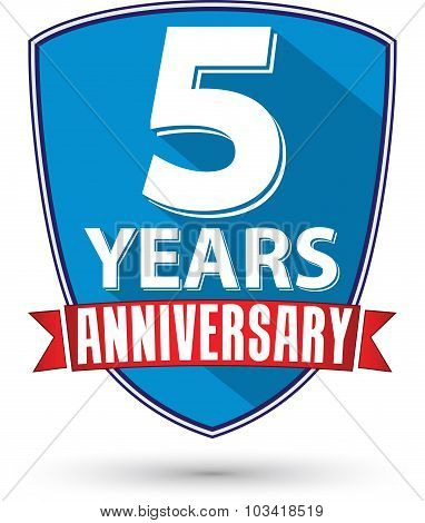 Flat Design 5 Years Anniversary Label With Red Ribbon, Vector Illustration