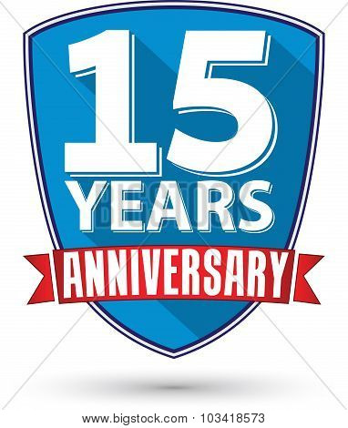 Flat Design 15 Years Anniversary Label With Red Ribbon, Vector Illustration