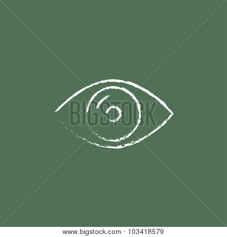 Eye hand drawn in chalk on a blackboard vector white icon isolated on a green background.
