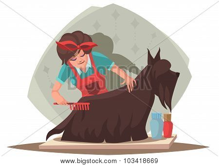 Woman Combing Dog