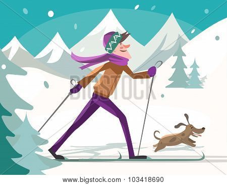 Skier With A Dog