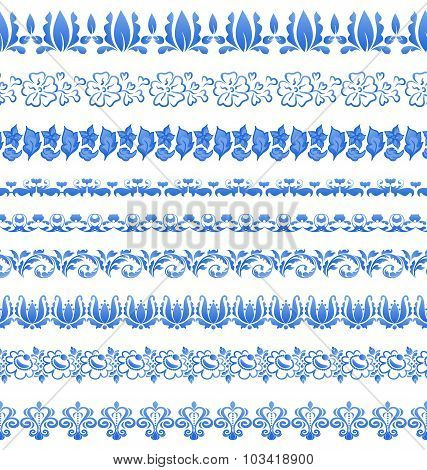 Set floral ornate tracery pattern in gzhel style for your design