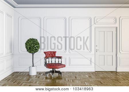 3d render of classic interior with wooden floor