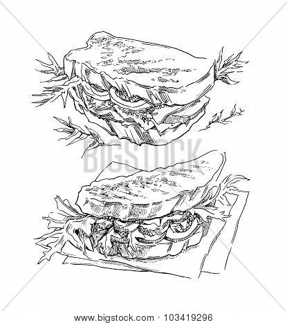 Hand made vector sketch of sandwich.