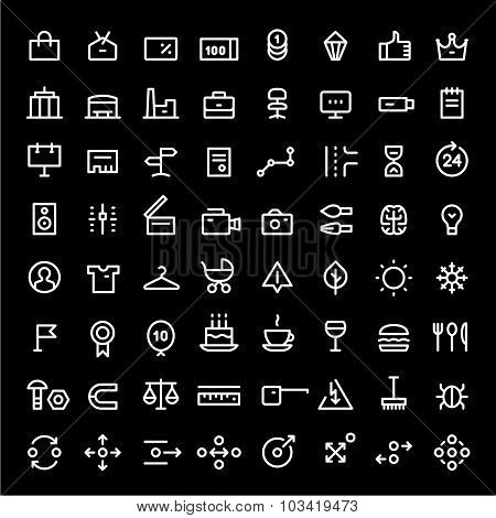 Linear icons set for web services vol.2. White color.