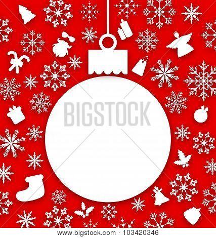 Christmas paper hanging ball as a postcard