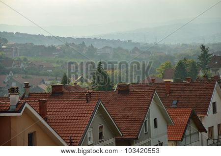 Suburban Panorama In Morning Mist