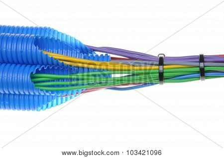 Colored electrical copper cables for electrician in corrugated pipe