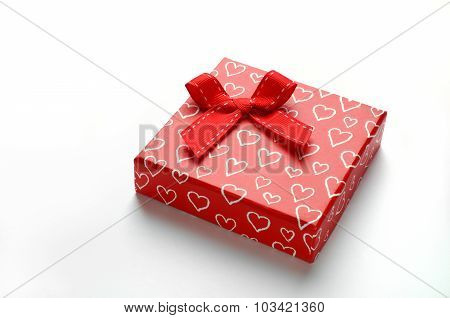 Decorative Red Gift Box With Bow And Painted Hearts