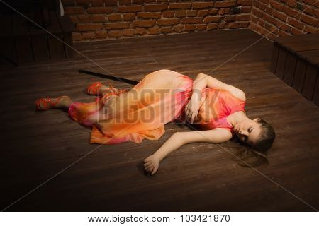 Crime Scene Simulation. Lifeless Girl Lying On The Floor