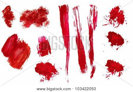 Red Abstract Hand Painted Acrylic Brush Strokes And Splatter