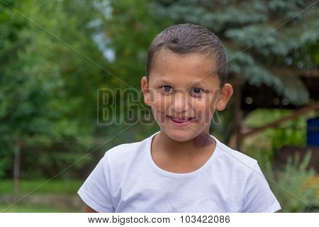 Abused Gypsy Boy Child With Scars Victim Of Domestic Violence Smiling Outside Happy In New Family