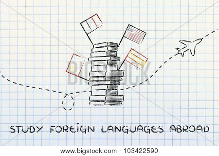 Study Foreign Languages Abroad: Books, Flags And Airplane