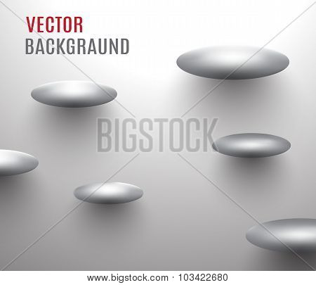 abstract backgraund,metal ovals soaring near the wall.