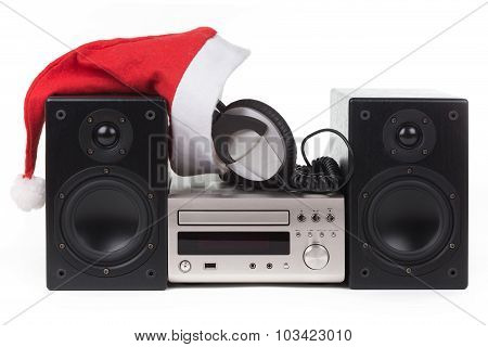 Stereo With Santa Claus Hat