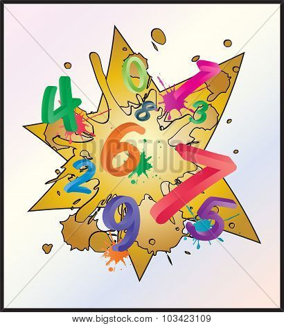 Image Of Colorful Math Background With Cartoon Numbers, Digits. Funny And Cheerfull Illustration For
