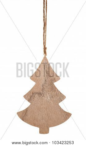 Decorative wooden christmas tree isolated.