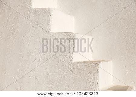 White Stairs On A Church Wall, Santorini