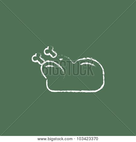 Raw chicken hand drawn in chalk on a blackboard vector white icon isolated on a green background.
