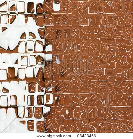 Brown And White Abstract Cube Shape Pattern As Background.