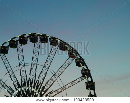 Detail And Structure Of Ferris Wheel With Blue Sky