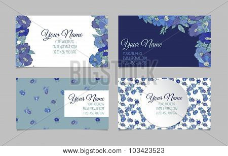 Set of four floral business cards