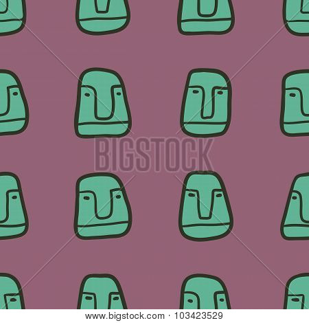 Hand Drawn vector Seamless Pattern With Cartoon Faces