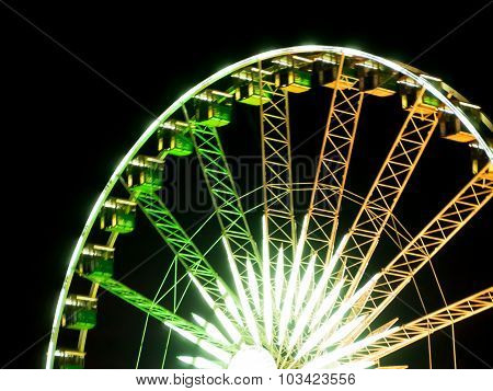 Detail Of Blight Ferris Wheel At The Festival Night