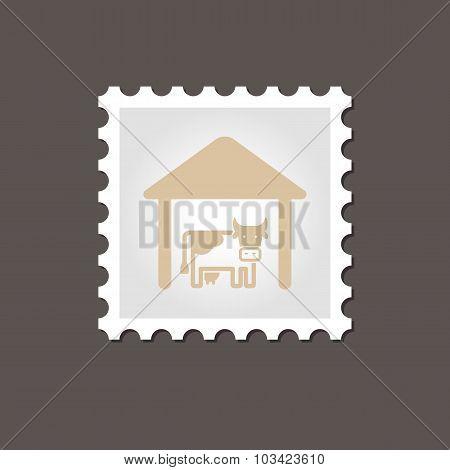 Cowshed stamp. Outline vector illustration