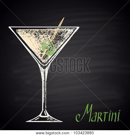 Colored chalk drawn illustration of glass with martini.
