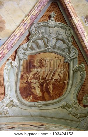 LEPOGLAVA, CROATIA - SEPTEMBER 21: Saint Luke the Evangelist, fresco in parish Church of the Immaculate Conception of the Virgin Mary in Lepoglava, Croatia on September 21, 2014