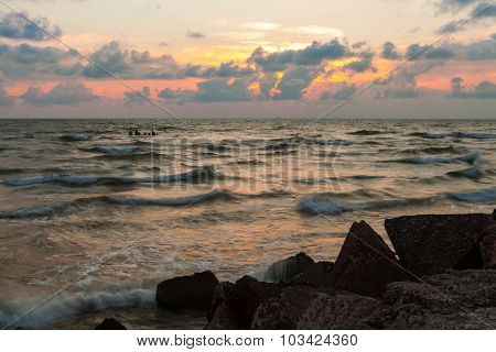 Baltic Waves At Sunset