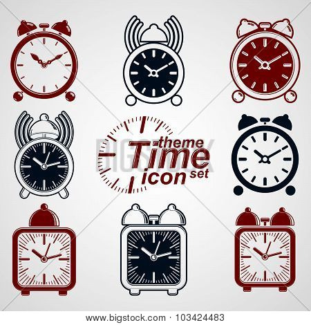 Vector squared 3d alarm clocks with clock bell, decorative wake up conceptual icons collection.