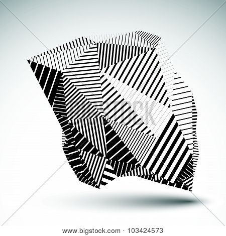 Geometric monochrome vector abstract 3D complicated backdrop, eps8 conceptual technology polygonal