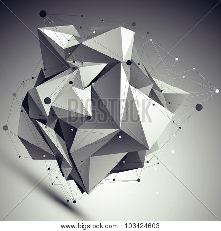 Contemporary asymmetric black and white stylish construction, abstract complex dimensional backdrop