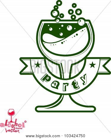 Vector cocktail glass with splash, alcohol idea graphic illustration. Stylized artistic goblet