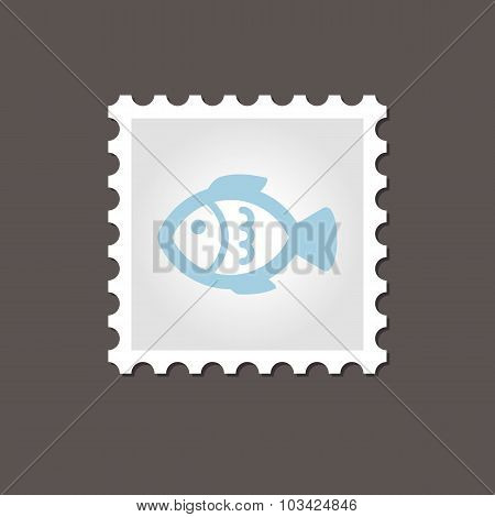 Fish stamp. Outline vector illustration