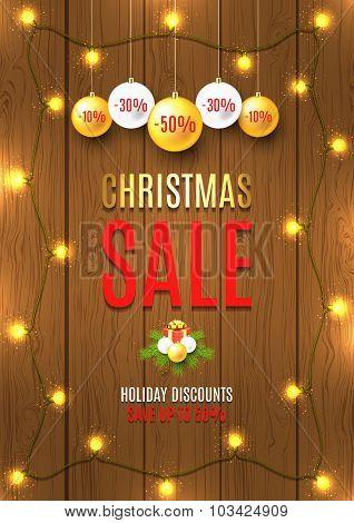 Christmas Sale Vector Flyer With Christmas Lights