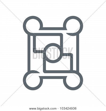 Logo square circle connecting symbol design element